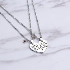 1 Pair Fashion Sister Big lil Sis Split Heart Pendant Love Heart pair Necklace
