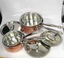 Ethos Stainless Steel + Copper Pan Set x4 Sauce Pans x3 Lids Various Sizes #363