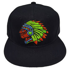 Indian Chief Warrior Black 100% Polyester Snapback Hat Cap