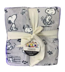 Peanuts Snoopy Berkshire Blanket & Home Co. Velvet Soft Blanket 60 x 90 Gray