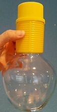 """Vintage Jeannette Glass 8"""" carafe w/ yellow plastic grip & top"""