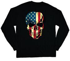 long sleeve t-shirt for men usa skull American flag graphic biker tee shirt
