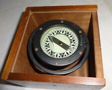 Antique Star Boston Ship's Compass in Wooden Slide Lid Box