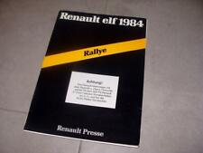Orig. Press Kit Renault R5 Turbo Gr.B Rallye Tour de Corse 1984 Jean Ragnotti