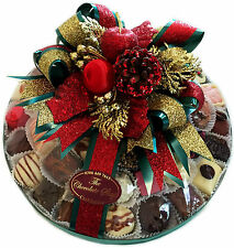 """12"""" Assorted Hand Made Belgian Chocolate Platter 1100g Christmas decorated"""