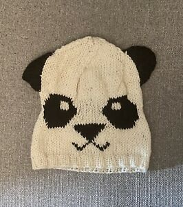 Hand Knitted Woolly Panda Winter Hat, With Ears, One Size