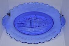 Mount Vernon George & Martha Washington Cobalt Blue Glass Plate Platter