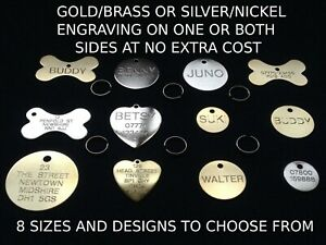 ENGRAVED DOG TAG PERSONALISED ROUND BONE ID NAME DISC LARGE SMALL PET CAT TAGS