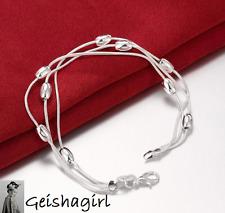 925 Sterling Silver Jewellery 3 Line Beads Chain Bracelet Bangle UK Seller