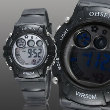 OHSEN Teen Kid Digital G Sport 12/24 Hour Alarm Quartz Watch Proof Shock Black