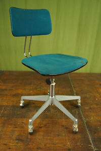 Vintage Office Chair Swivel Chair Desk Chair Architects Chrome Blue 70er