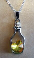"Ladies 18"" 925 Sterling Silver Amber Love Drift Bottle Heart Necklace Pendant"