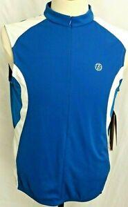 New Bontrager Blue Active Sport Sleeveless 1/2 Zip Cycling Jersey shirt Womens L