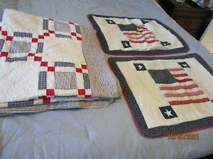 """Vintage American Quilt 90x100"""" Full~Queen~King 2 Pillow Shams Farmhouse Country"""