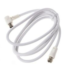 9.5mm White 90 Degrees Male To F Type Male Coaxial TV Satellite Antenna Cable