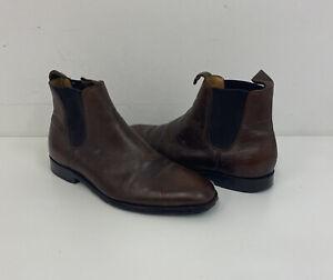 Barker Brown Leather Chelsea Boots Slip On Sz 9 UK Mens