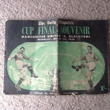 Manchester United v Blackpool 1948 Fa Cup Final Souvenir Daily Dispatch