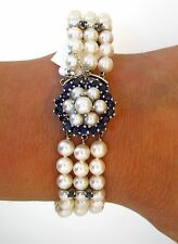 "14K White Gold White Pearl Strand Blue Sapphire Flower Clasp Vintage Bracelet 7"""
