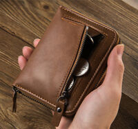 Fashion Men's Leather Business Wallet With Coins Pocket Zipper Purse