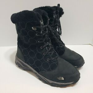 THE NORTH FACE Womens Size 7 Black Snow Winter Quilted Waterproof Mid Boots