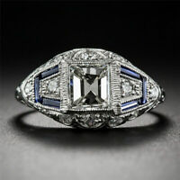 Fashion Vintage White Topaz Sapphire Engagement Wedding Ring Wholesale 6-10