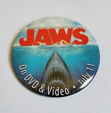 Rare 2000 Jaws Movie Promo Button 25th Anniversary Dvd Vhs Spielberg Poster Pin