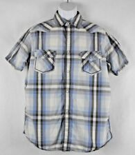 Urban Pipeline Men's Size Large Blue Plaid Pearl Snap Shirt 2 Snap Pockets EUC