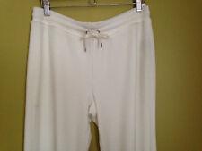 NWT LAUREN Ralph Lauren Cozy Pearl White Velour Soft Track Lounge Pants M $110