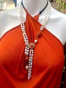 Designer Luxus  Kette Perlen Koralle Anhänger Unikat