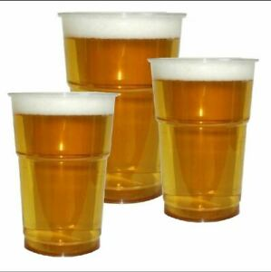 100 Clear Strong Plastic Pint 20Oz, 560 ml/ Half Pint Disposable Beer Glass Cups