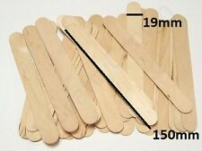 100 LARGE JUMBO NATURAL WOODEN LOLLIPOP ICE LOLLY STICKS KIDS ART CRAFT 150 x 19