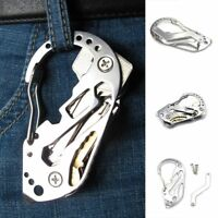 Stainless Multi Tool EDC Pocket Survival Carabiner Screwdriver Keychain Wrench