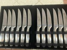 GS Gourmet Settings 12 Piece Stainless Flatware Serrated Steak Knife Set W/Box