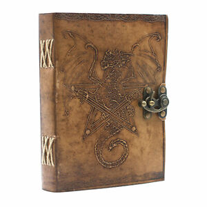 LEATHER DRAGON JOURNAL - Notebook Brass Effect Hinge - 200 Handmade Blank Pages