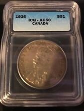1936 Canadian $1 Coin AU50 (C277)