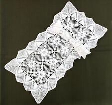 Tischläufer Baumwolle Häkelspitze Handarbeit Vintage Landhaus weiß 35x80