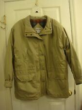 Woman's Cabin Creek Beige Flannel Lined Zipper Front 3/4 Jacket Coat Size 2X
