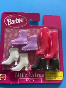 Barbie Fashion  Doll Little Extras Boots Shoes Hot Pink Western Black NRFP 4 Pr