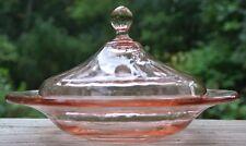 Vintage Depression Glass Pink  Lidded Butter Dish