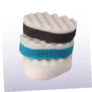 Multy 3 Pack Oval Massage Sponges - Teal/Charcoal/White - Exfoliate, Bath,Shower