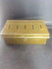 Vintage Green Tin & Enamel Cash Box Money Bank 5 slots Compartments
