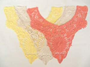 3 pieces of Cotton embroidered guipure applique neck trims, butter orange & ecru