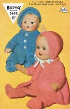 Dolls Clothes Knitting Pattern Copy 4 Ply pram suits for 30 35 40 cm dolls