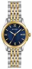 New Bulova 98M124 Two Tone Stainless Steel Blue Dial Ladies Watch
