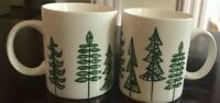 Starbuck Mugs  2015 Holiday Christmas Trees Green Abstract Coffee Cups 2 Two