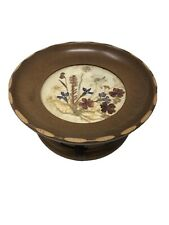 Vintage Wooden Bowl Music Box With Pressed Flowers