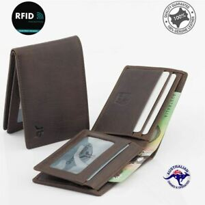 Genuine Men's Rugged Leather Small Slim RFID Wallet Black or Tan Colours