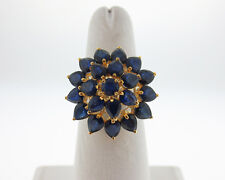 Natural 8.00cts Blue Sapphires Solid 14k Yellow Gold Cluster Cocktail Ring