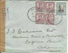 Malaya JOHORE-SG#103(x4)#130 BEKOK 31/JY/1940-WWII CENSOR TAPE