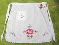 Vintage Style Cross Stich Embroidered Half Waist Apron~White~Cotton~Red Rose~